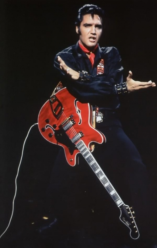 Elvis with Arms Crossed Over Guitar