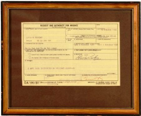 Military Leave Pass Issued to Elvis Presley, 1958
