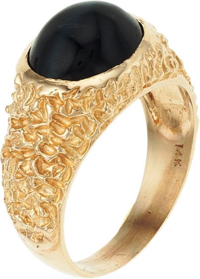 Elvis' Hawk's Eye Quartz 14k Gold Ring