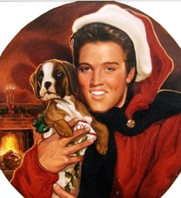 Elvis Santa and Hound Dog