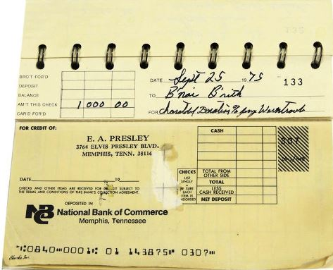 Elvis Presley's Personal Checkbook Register