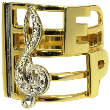 Elvis' Treble Clef Gold and Diamond Ring Gifted to Sammy Davis, Jr.