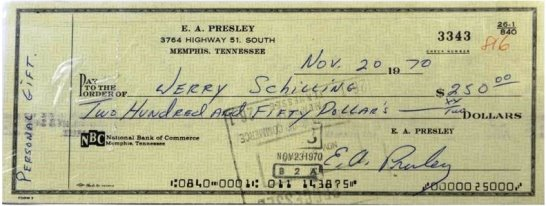 Elvis Signed Check Written to Jerry Schilling