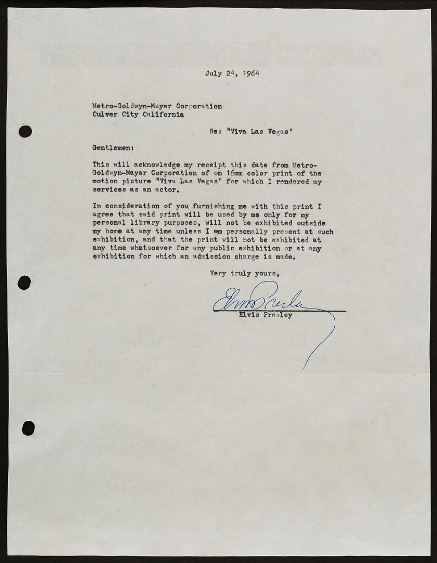 Elvis Signed Letter to MGM