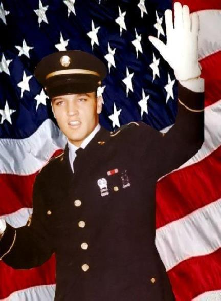 Elvis in Blue Dress Uniform in Front of Flag