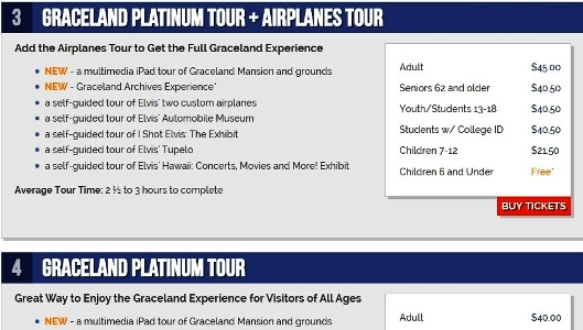 Graceland Ticket Prices