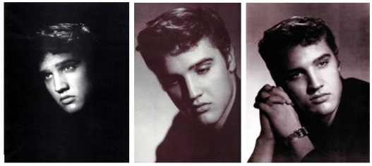 William Speer - Three Photos of Elvis in Maroon Shirt