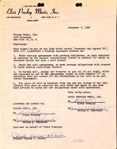 1956 Elvis Presley Double-Signed Transfer Agreement Moving 15 Songs to Gladys Music