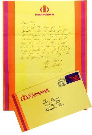 1969 Elvis Presley Handwritten Signed Letter to Gary Pepper Discussing the Inaugural Show at the International Hotel