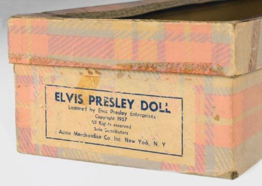 Box for 1957 Elvis Presley Doll in Rare Original Box