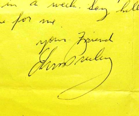 Elvis' Signature on Letter to Gary Pepper