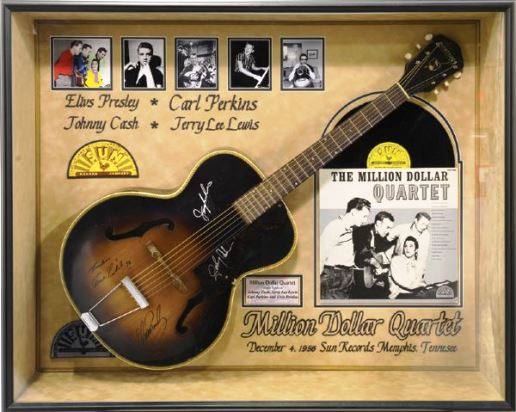Million Dollar Quartet Signed Guitar with Elvis Presley, Johnny Cash, Carl Perkins and Jerry Lee Lewis Signatures