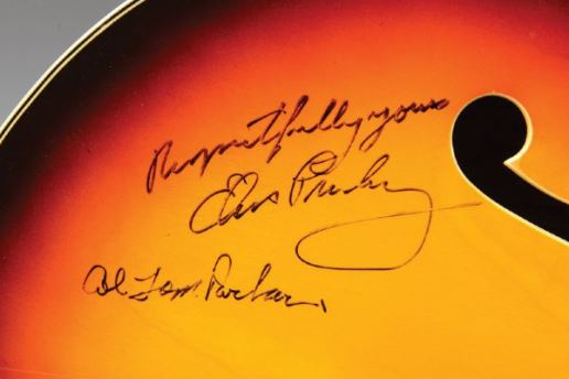 Signatures by Elvis and Col. Parker onHollow Body Electric Guitar