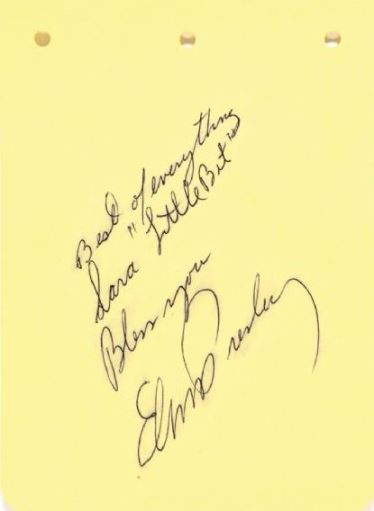 Elvis Signed and Inscribed Note to Sara Little Bit Cossman