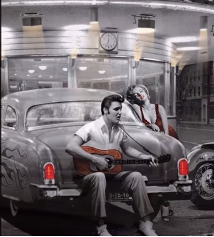 Elvis and Marilyn Sitting on a Bumper While Playing Guitar