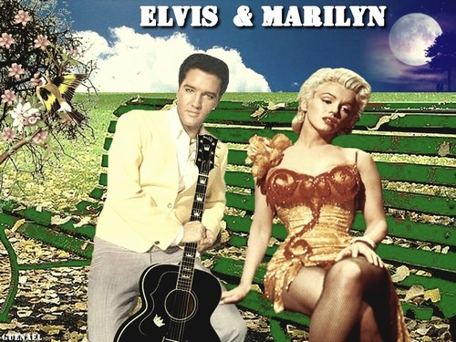 Elvis and Marilyn on Bench