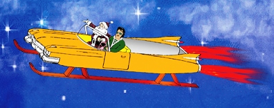 Big E and the Santa Man in Jet Sled