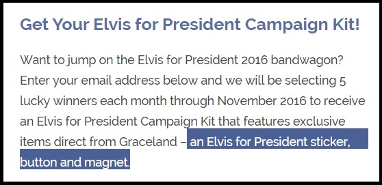 Elvis Presidential Campaign Kit
