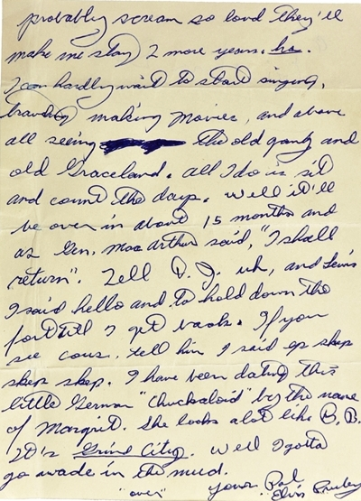 "1958 Elvis Presley Handwritten Two-Page Letter to Alan Fortas ""Hog Ears"" Sent While in the Army Stationed in Germany - Page 2"