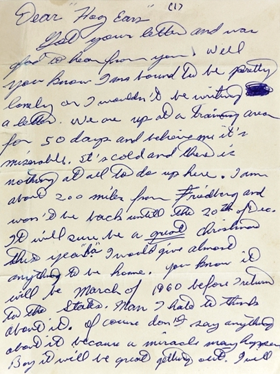 """1958 Elvis Presley Handwritten Two-Page Letter to Alan Fortas """"Hog Ears"""" Sent While in the Army Stationed in Germany"""