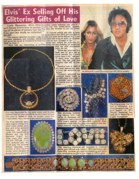 34 Elvis Jewelry Items Linda Thompson Sold at Christie's auction in 1988