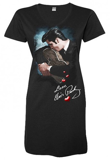 Elvis Kissing Guitar Love Me Tender Women's V-Neck Nightshirt