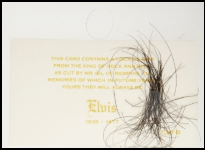 Elvis Hair Sold for $1,195 August 2010 Heritage