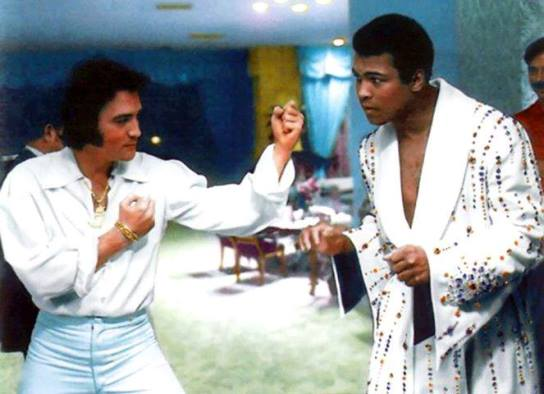 Elvis and Ali in boxing pose