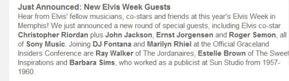 Special Guests At Elvis Weekk 2016