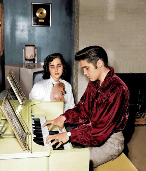 Colorized Photo of Elvis and Barbara Hearn