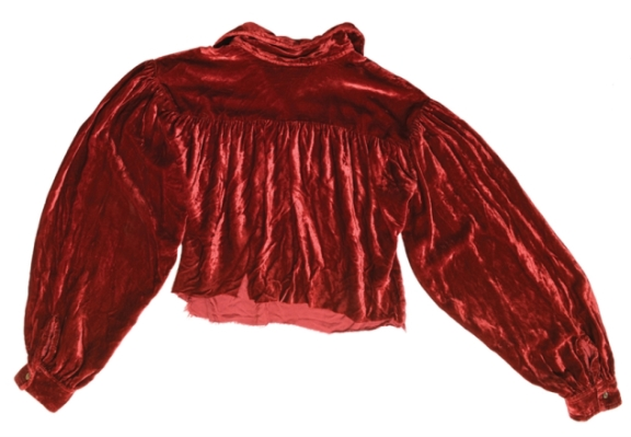 Elvis '56 Tupelo Concert Red Velvet Shirt - piece cut out of back