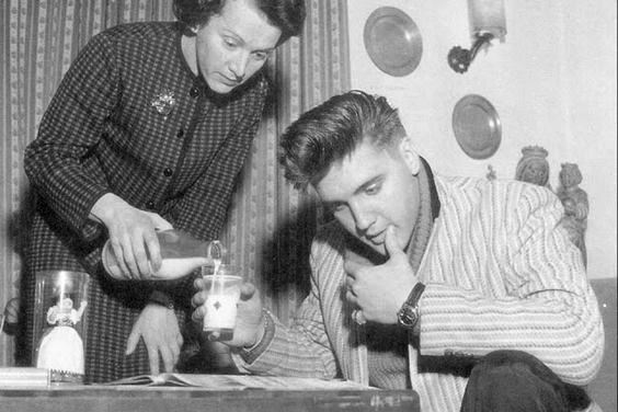 Elvis getting served Milk
