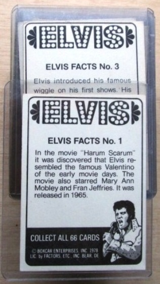 Elvis Trading Cards - Back