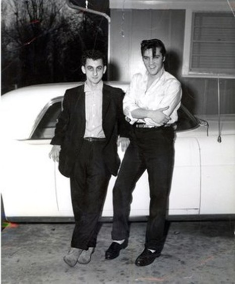 George Klein and Elvis Leaning on Car