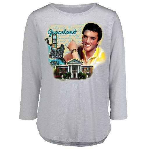 ELVIS PRESLEY GRACELAND GUITAR WATERCOLOR 3-4 SLEEVE WOMEN'S
