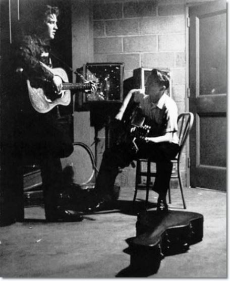 Elvis Presley and Scotty Moore between shows in the UD Fieldhouse in Dayton - May 27, 1956.