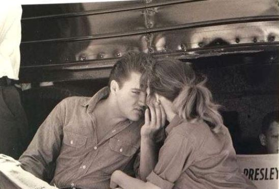 Elvis on location in Florida with co-star Anne Helm from Follow That Dream.