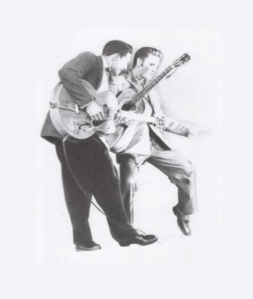 Scotty Moore and Elvis Floating in Space