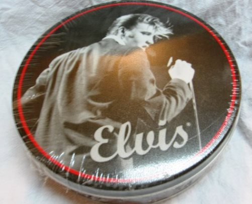 Round Elvis Frosted-Pretzel Tin