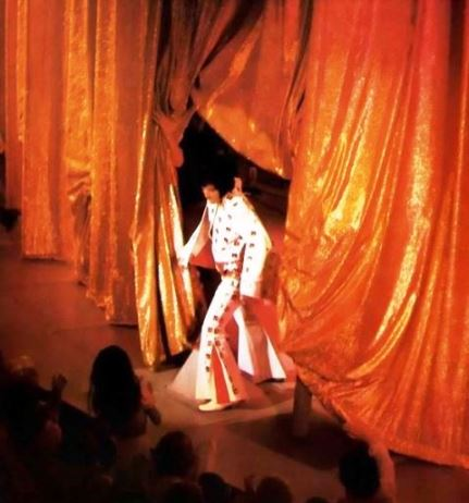 Elvis in front of Gold Curtain