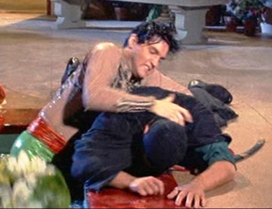 Elvis using Karate Chop on Assasin in Harum Scarum