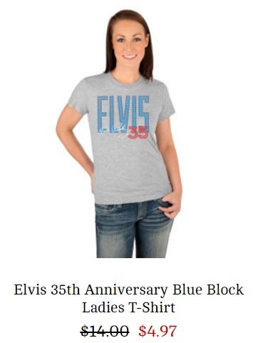 Elvis 35th Anniversary Ladiis T-Shirt - Medium -originally 24.99