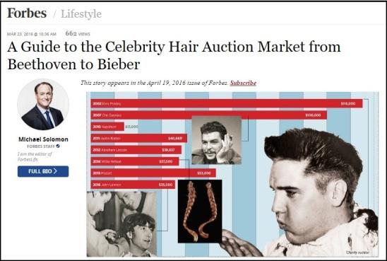 Elvis Heads Celebrity Hair Auction Market