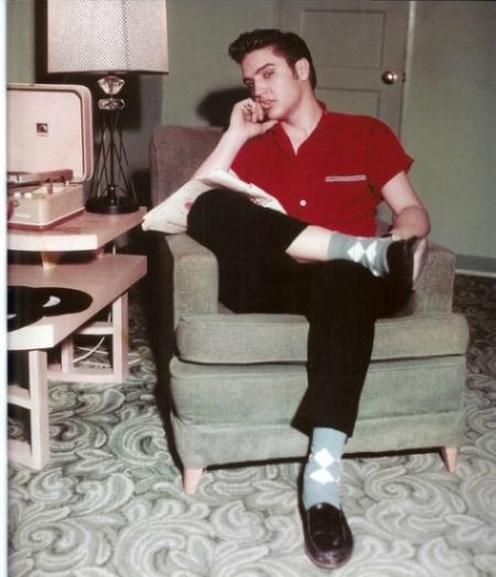Elvis Wearing Argyle Socks