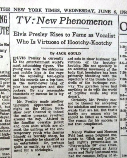 New York Times Review of Elvis on Milton Berle Show